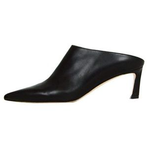 Stuart Weizmann black leather heel mule